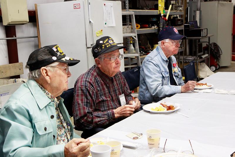 Monthly veteran breakfast provided by Vernon's Kuntry Katfish. WWII veterans Joseph Smith, RB Kelly, James Brown.