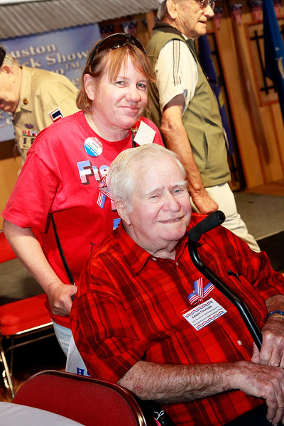 Military supporter Lisa Tutter and WWII veteran Edwin Fountain.