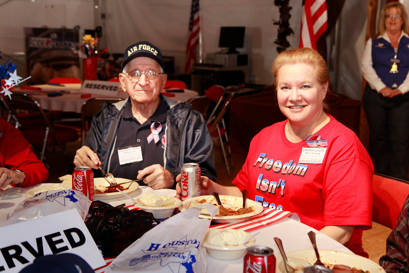 """WWII veteran Joe Gantt and military suppoter and founder of  <a href=""""http://www.proudtobeapatriot.com"""">http://www.proudtobeapatriot.com</a>  Sherri Kennedy"""