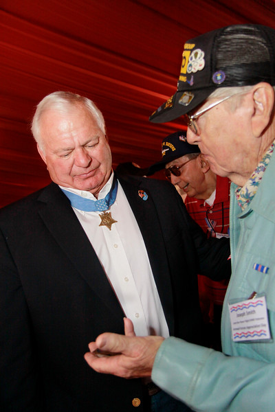 """Congressional Medal of Honor recipient, Mike Thornton and WWII veteran Joseph Smith. Joseph was a B-29 crew member, who flew 32 missions during WWII including the """"Show of Force"""" during the Japanese surrender and 26 missions during the Korean war."""