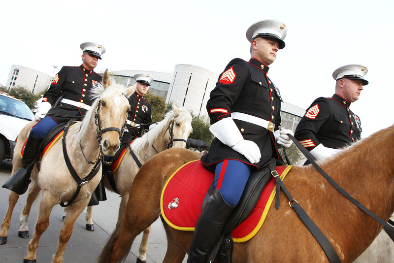 WWII Veterans participate in the Houston Livestock Show and Rodeo Armed Forces Appreciation Day. Marine Guard