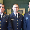 Dylan Finn, of Dedham, Seth Lavenski, of Ashburnham and Dylan Hicks, of Pittsfield, received their undergraduate degrees at Fitchburg State University on May 17. Earlier in the morning, the trio attended the Commissioning Ceremony at WPI and became 2nd Lieutenants in the United States Army. SENTINEL & ENTERPRISE / Ashley Green