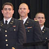 Dylan Finn, of Dedham, Dylan Hicks, of Pittsfield, and Seth Lavenski, of Ashburnham are cheered on by the crowd before receiving their undergraduate degrees during the commencement ceremony at Fitchburg State University on Saturday morning. Earlier in the morning, the trio attended a Commissioning Ceremony at WPI and became 2nd Lieutenants in the United States Army. SENTINEL & ENTERPRISE / Ashley Green