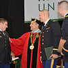 Dylan Hicks, of Pittsfield, Dylan Finn, of Dedham, and Seth Lavenski, of Ashburnham receive their undergraduate degree during the commencement ceremony at Fitchburg State University on Saturday morning. Earlier in the morning, the trio attended the Commissioning Ceremony at WPI and became 2nd Lieutenants in the United States Army. SENTINEL & ENTERPRISE / Ashley Green