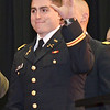 Dylan Finn, of Dedham, acknowledges the crowd before receiving his undergraduate degree during the commencement ceremony at Fitchburg State University on Saturday morning. Earlier in the morning, the, along with Dylan Hicks, of Pittsfield, and Seth Lavenski, of Ashburnham,, attended the Commissioning Ceremony at WPI and became 2nd Lieutenants in the United States Army. SENTINEL & ENTERPRISE / Ashley Green