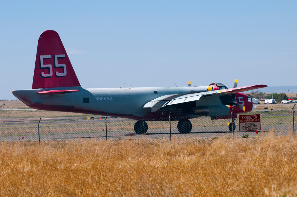 P-2V Neptune<br /> Airport, Prescott, Arizona<br /> When the landing gear on an air tanker #55 failed on Sunday, June 3, 2012, the plane's left side landing gear would not extend and the pilots were forced to make an emergency belly landing at the Miden-Tahoe Airport in Nevada. Amazingly, the two walked away unscathed, even though the plane suffered significant damage. The plane was not fighting the local fires and was arriving from out of the area.The was a naval patrol bomber and anti-submarine warfare aircraft for the United States Navy. The P-2 Neptune replaced the PV-1 Ventura and PV-2 Harpoon and is being replaced, in turn, with the P-3 Orion. The P2V aircraft were rebuilt and converted into aerial tankers with a maximum fire retardant capacity of 2,700 gallons with six door retardant dispensing tanks. Over 8 P2Vs are currently employed in aerial firefighting roles by operators such as Aero Union and Neptune Aviation Services.