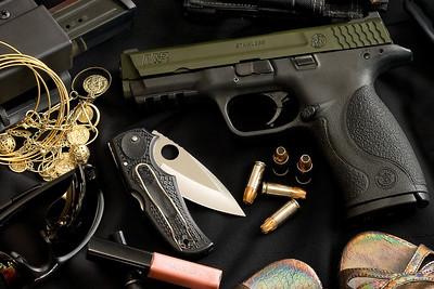 S&W M&P9, custom OD Green moly coated slide, Heinie Basic sights