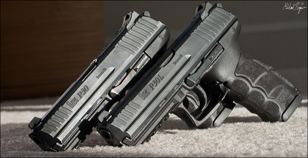 My pair of Heckler & Koch P30 9mm V3 pistols, one in the Long variant. Both pistols are wearing Heinie Slant-Pro Straight-8 QWIK tritium sights.