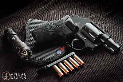 S&W 442 with Crimson Trace Lasergrips, Apex Tactical spring kit, a Desantis Nemesis pocket holster, a Surefire LX2 Lumamax, and Speer Gold Dot .38spl 135gr +P JHP on a Safariland Speed Strip.