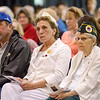 Gold Star parents Ray & Ann Rantakyto and Gold Star Wife Paullette Murphy listen to speakers during the Memorial Day ceremony at the Fitchburg Senior Center on Monday morning. SENTINEL & ENTERPRISE / Ashley Green