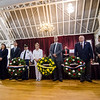 City officials and veterans lay the ceremonial wreaths during the Memorial Day ceremony at the Fitchburg Senior Center on Monday morning. SENTINEL & ENTERPRISE / Ashley Green