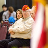 USMC veteran Dan Cunningham listens to speakers during Fitchburg's Memorial Day service at the Senior Center on Monday morning. SENTINEL & ENTERPRISE / Ashley Green