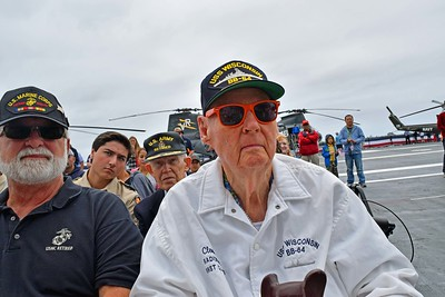 Three Honored Veterans listen to music
