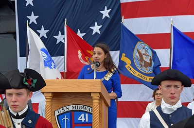 Simran Noon, NSDAR Co-Chair, amid Great Color to the Flags
