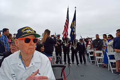 """""""Clem"""" awaits the Presentation of Colors"""