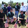 LAER Realty holds a Flag Take Down celebration and fundraiser for Massachusetts Fallen Heroes. From left, front: Bob Casper of Chelmsford, Mike Kendrick of Chelmsford, and Ken Vezina of Lowell. Rear: Harold Coughlin, Dennis Statuto and Vinny Freeman, all of Chelmsford, and Bill La Varnway of Dunstable. (SUN/Julia Malakie)