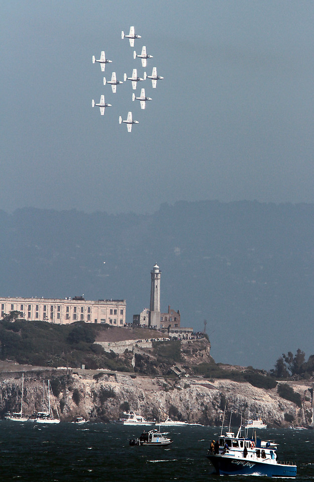 The Air Show flies over Alcatraz during Fleet week in San Francisco, Calif., on Saturday, October 8, 2011.