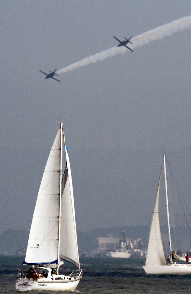 The Air Show over San Francisco bay during Fleet week in San Francisco, Calif., on Saturday, October 8, 2011.