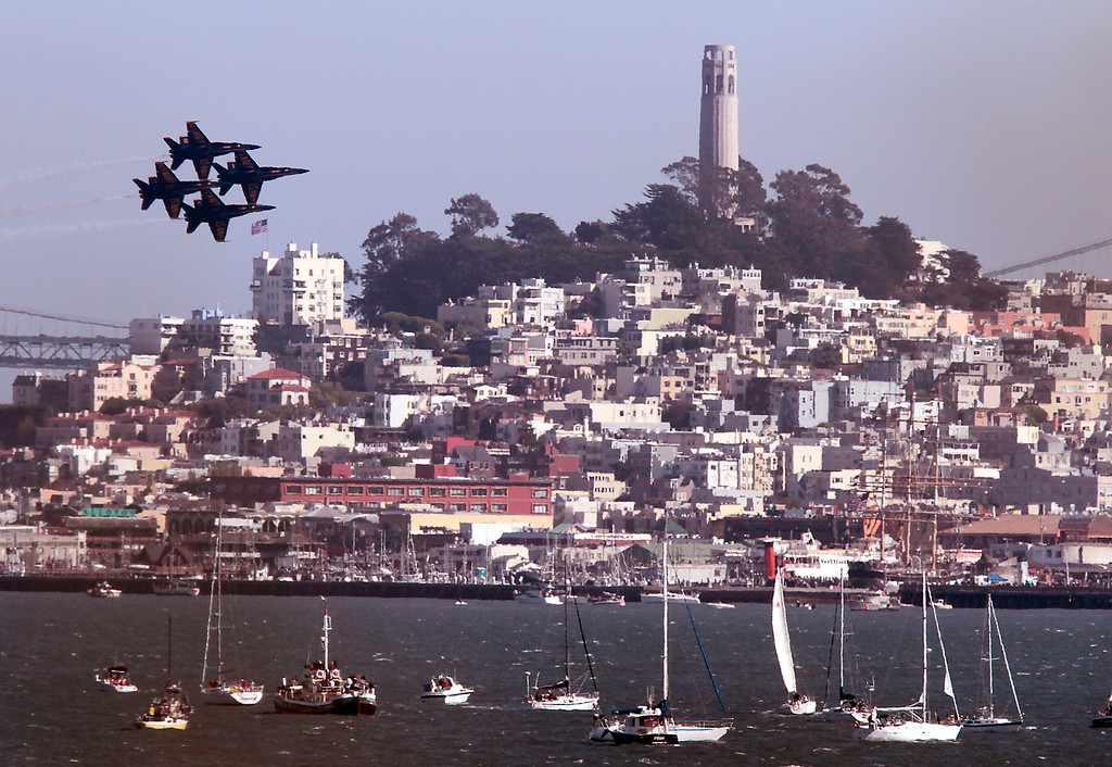 The Blue Angels fly over San Francisco during Fleet week in San Francisco, Calif., on Saturday, October 8, 2011.