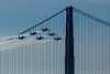 Blue Angels come in over the Golden Gate bridge