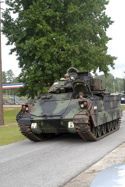 Bradley fighting vehicle/armored personell carrier.  The 8 soldiers in the next picture all fit into this vehicle!