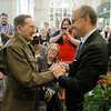 Dracut's Frank Polewarczyk, 91, a WWII veteran gets pinned by Consul general De France a Boston Valery Freland at the Boston Athenæum with France's highest military metal, the Legion of Honor. SUN/JOHN LOVE