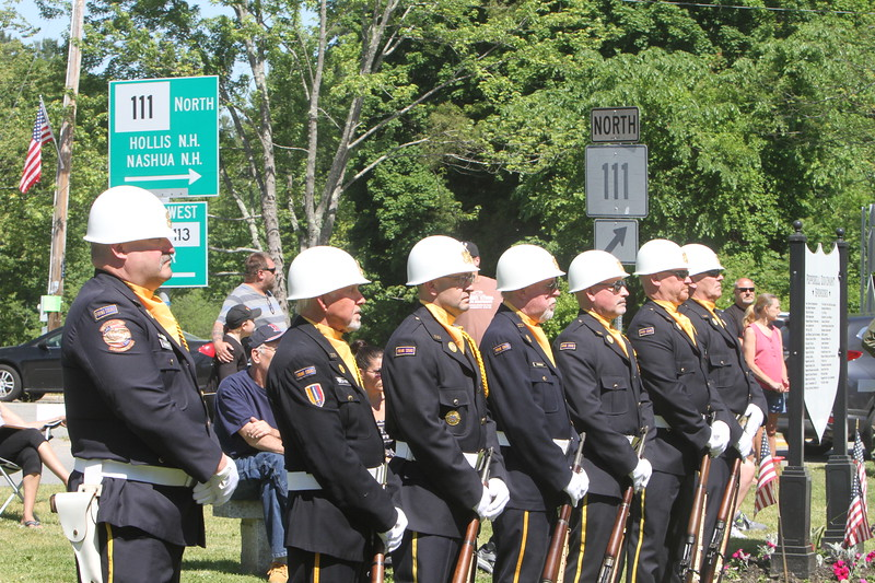Townsend American Legion Post 199 members at dedication ceremony for the Middlesex G.W.O.T. Veteran's Monument in Pepperell, honoring service members who sacrificed in the post 9/11 Global War on Terror. (SUN/Julia Malakie)