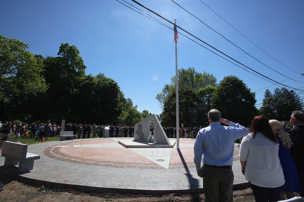 . Dedication ceremony for the Middlesex G.W.O.T. Veteran\'s Monument in Pepperell, honoring service members who sacrificed in the post 9/11 Global War on Terror. (SUN/Julia Malakie)