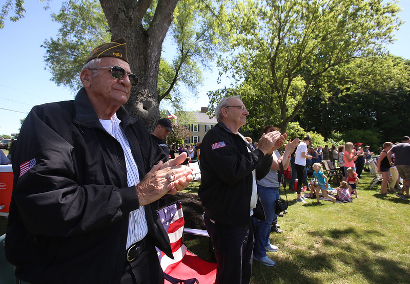 Dedication ceremony for the Middlesex G.W.O.T. Veteran's Monument in Pepperell, honoring service members who sacrificed in the post 9/11 Global War on Terror. Robert Knight, left, and his friend Mike Krygowski, both of Rindge, N.H., and Rindge veterans' group. (SUN/Julia Malakie)