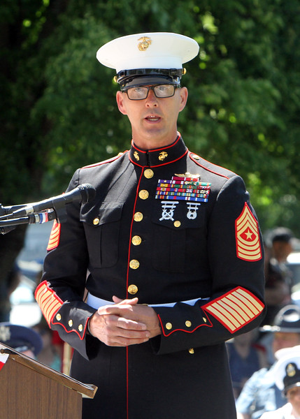 Dedication ceremony for the Middlesex G.W.O.T. Veteran's Monument in Pepperell, honoring service members who sacrificed in the post 9/11 Global War on Terror. SGT MAJ Tracy Linch, USMC (Ret), speaks at ceremony. (SUN/Julia Malakie)