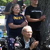 Dedication ceremony for the Middlesex G.W.O.T. Veteran's Monument in Pepperell, honoring service members who sacrificed in the post 9/11 Global War on Terror. Mike Krygowski of Rindge, N.H., front, and Christine and husband Dennis Brooks of Pepperell, center. (SUN/Julia Malakie)