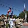 Raising of flag at dedication ceremony for the Middlesex G.W.O.T. Veteran's Monument in Pepperell, honoring service members who sacrificed in the post 9/11 Global War on Terror. (SUN/Julia Malakie)