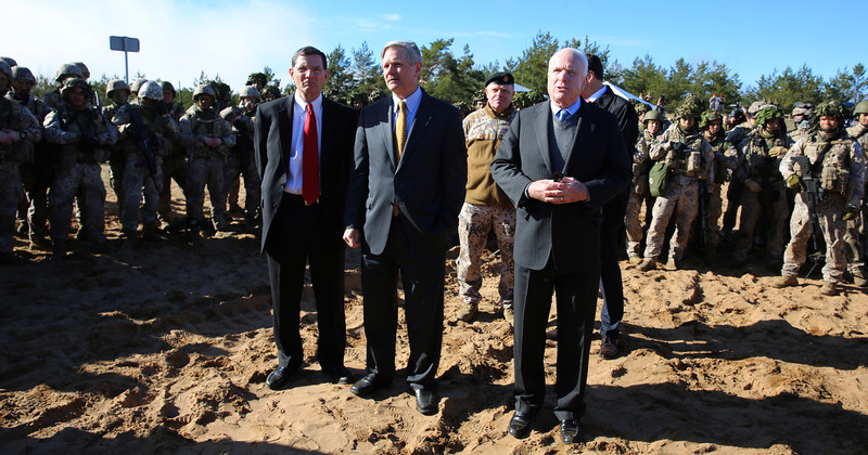U.S. Senators meet with U.S., Latvian, and Estonian troops during exercise Summer Shield