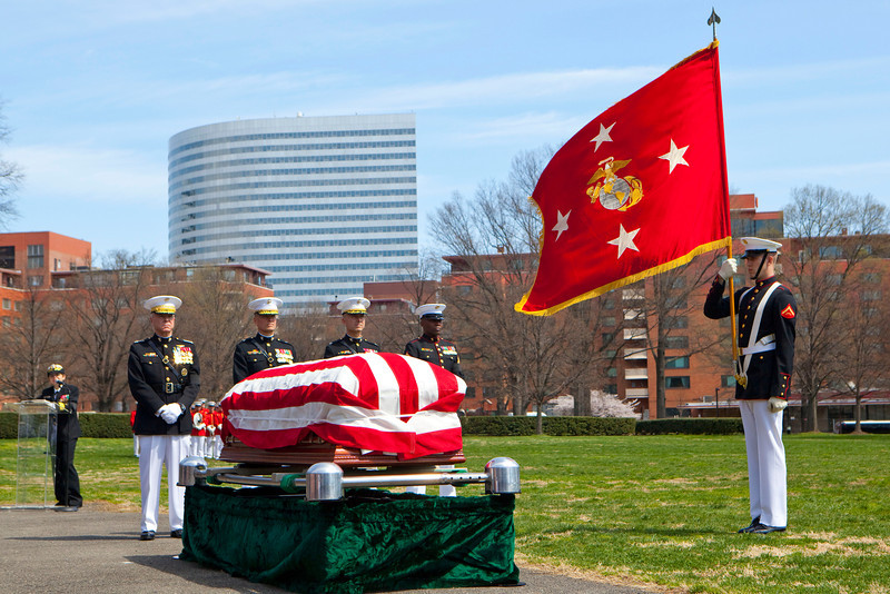 A memorial ceremony is held for retired Gen. Carl E. Mundy, Jr., the 30th Commandant of the Marine Corps, at the Marine Corps War Memorial in Arlington, Va., on April 12, 2014. (U.S. Marine Corps photo by Sgt. Marionne T. Mangrum)