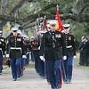 20081103-M-8689P-005 - Maj. John Barclay leads more than 100 Marines from Marine Barracks Washington away from Gen. Robert H. Barrows' final resting place after his funeral in St. Francisville, La., Nov. 3.  Barrows, the retired 27th CMC, who served for more than 40 years through three wars, passed away Oct. 30.