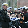 20081103-M-8689P-004 - Gen. James T. Conway, 34th Commandant of the Marine Corps, receives a flag from Sgt. Maj. Carlton W. Kent during the funeral service for Gen. Robert H. Barrows in St. Francisville, La., Nov 3.  Barrows, the 27th CMC, a veteran of three wars, with more than 40 years of service, passed away Oct. 30.