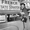 """Eleanor Clark French. Posing Beside  """"French For State Senator"""" Sign. 1956"""