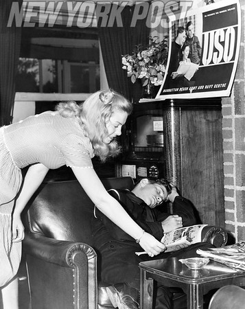Military Couple At Manhattan Beach Army Navy Center of USO. 1943