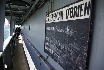 QUARTERDECK WELCOME -- The SS Jeremiah O'Brien, according to its Quarterboard, has set sail for Suisun Bay, July 24, underway at 09:00 (scheduled).