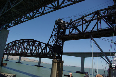 The Benicia railroad bridge is raised to allow the O'Brien to pass safely underneath.