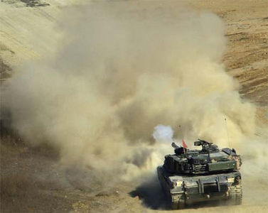 Soldiers from the 2nd Infantry Division get some live-fire practice time in their M1 Abrams Main Battle Tank.