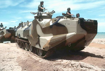 The AAVR7A1 is an armored assault amphibious full-tracked vehicle. The vehicle is designed to recover similar or smaller size vehicles.