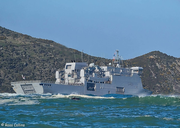 HMNZS Canterbury departing Wellington Harbour en route to the Talisman Sabre exercise, 13 June 2016