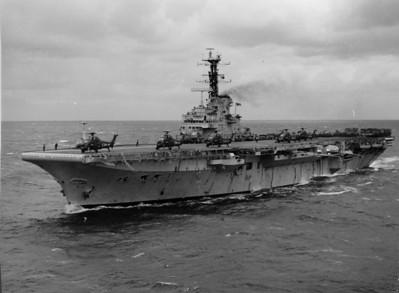 The calm after the storm! HMS Bulwark, slightly battered. Jan 1973