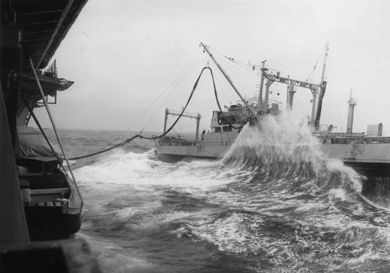 January 1973. Attempting to RAS (Refuel at Sea) from RFA Pearleaf. Aborted - too rough.