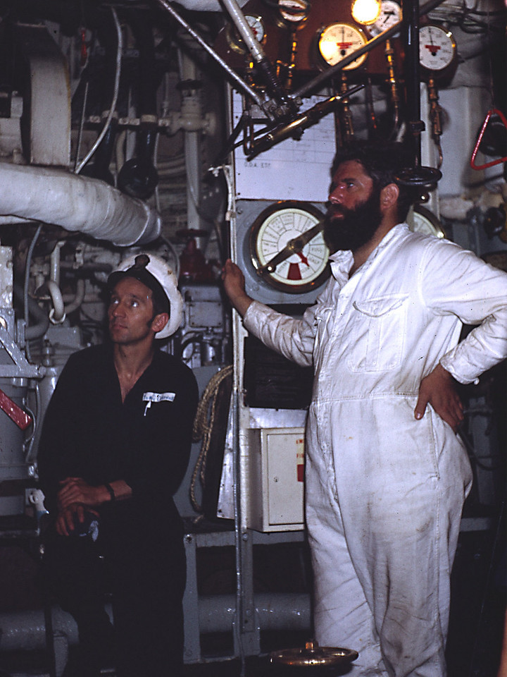 The POMEM in charge of the boiler room. Engineer (under training) was Gerry Glover.