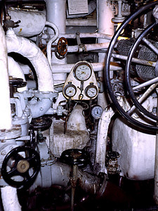 A bit more of the engine room. These ships had two shafts driven by two steam turbines. Total power 40,000 shp giving a maximum speed of 34/35 knots originally.