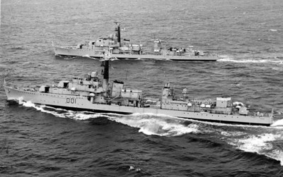 The last destroyers. HMS Caprice (D01), Cavalier (D73). Cavalier is slightly more original in that she retained her open bridge.