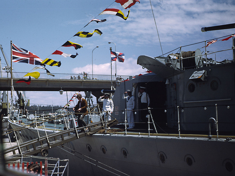 Oporto, one of the Australian Officers going ashore.
