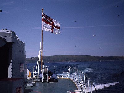 Doing some maintenance on the quarterdeck in beautiful weather just off the Devon coast.